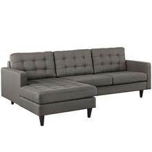 Empress Left-Arm Sectional Sofa, Grey Fabric