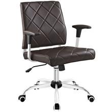 Lattice Vinyl Office Chair, Brown, Vinyl Leather