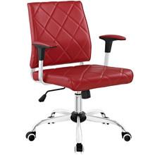 Lattice Vinyl Office Chair, Red, Vinyl Leather