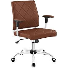 Lattice Vinyl Office Chair, Tan Brown, Vinyl Leather