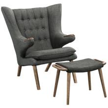 Bear Lounge Chair and Ottoman, Grey, Fabric, Wood