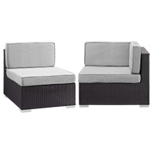 Convene Corner and Middle Outdoor Patio Sectional Set, Grey, Fabric, Synthetic Rattan