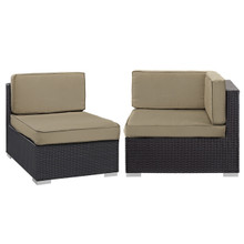 Convene Corner and Middle Outdoor Patio Sectional Set, Brown, Fabric, Synthetic Rattan