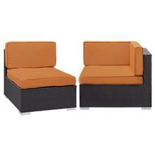 Convene Corner and Middle Outdoor Patio Sectional Set, Orange, Fabric, Synthetic Rattan