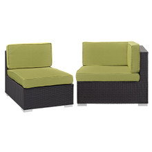 Convene Corner and Middle Outdoor Patio Sectional Set, Green, Fabric, Synthetic Rattan