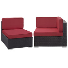 Convene Corner and Middle Outdoor Patio Sectional Set, Red, Fabric, Synthetic Rattan