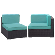Convene Corner and Middle Outdoor Patio Sectional Set, Blue, Fabric, Synthetic Rattan