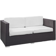 Convene Outdoor Patio Loveseat, White, Fabric, Synthetic Rattan