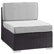 Convene Armless Outdoor Patio Sectional, Grey, Fabric, Synthetic Rattan