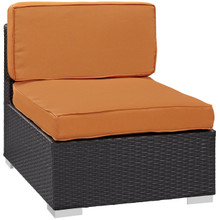 Convene Armless Outdoor Patio Sectional, Orange, Fabric, Synthetic Rattan