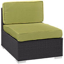 Convene Armless Outdoor Patio Sectional, Green, Fabric, Synthetic Rattan