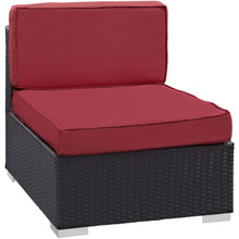 Convene Armless Outdoor Patio Sectional, Red, Fabric, Synthetic Rattan