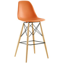 Pyramid Bar Stool , Orange, Plastic, Steel
