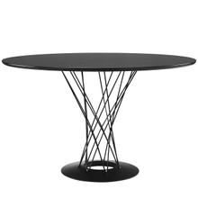 Cyclone Wood Top Dining Table, Black, Wood, Steel