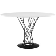 Cyclone Wood Top Dining Table, White, Wood, Steel