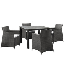 Junction Five PCS Outdoor Patio Dining Set, White, Polywood, Aluminum