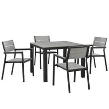 Maine Five PCS Outdoor Patio Dining Set, Grey, Polywood, Aluminum