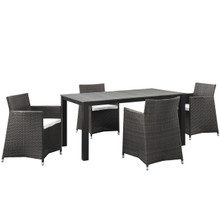 Junction Five PCS Outdoor Patio Dining Set, White, Fabric, Synthetic Rattan