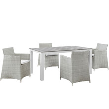 Junction Five PCS Outdoor Patio Dining Set, White, Synthetic Rattan, Fabric