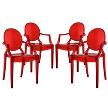 Casper Dining Armchairs (Set of Four), Red, Plastic
