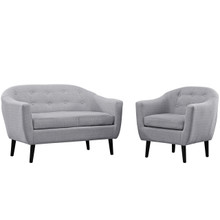 Wit Two PCS Living Room Set, Fabric, Grey