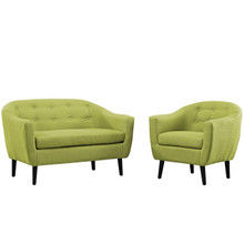 Wit Two PCS Living Room Set, Green, Fabric