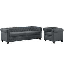 Earl Two PCS Fabric Living Room Set, Grey, Fabric