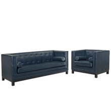 Imperial Two PCS Living Size Room Set, Blue, Leather