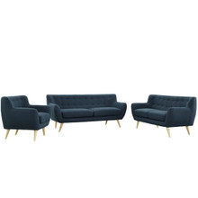 Remark Three PCS Living Room Set, Navy, Fabric, Plywood