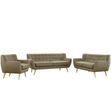 Remark Three PCS Living Room Set, Brown, Fabric, Plywood