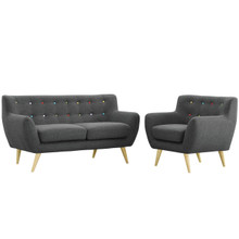 Remark Two PCS Living Room Set, Grey, Fabric, Plywood
