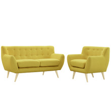 Remark Two PCS Living Room Set, Yellow, Fabric, Plywood