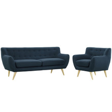 Remark Two PCS Living Room Set, Navy, Fabric, Plywood
