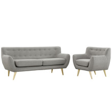 Remark Two PCS Living Room Set, Grey, Plywood, Fabric 1784