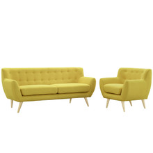 Remark Two PCS Living Room Set, Yellow, Fabric, Plywood 1784
