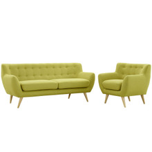 Remark Two PCS Living Room Set, Green, Fabric, Plywood 1784