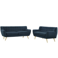 Remark Two PCS Living Room Set, Navy, Fabric, Plywood 1785