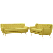 Remark Two PCS Living Room Set, Yellow, Fabric, Plywood 1785