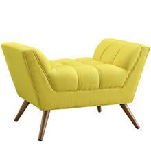 Response Fabric Ottoman , Yellow, Fabric