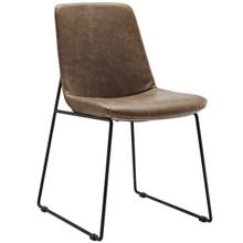 Invite Dining Vinyl Side Chair, Brown, Vinyl Leather