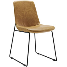 Invite Dining Vinyl Side Chair, Vinyl Leather, Brown