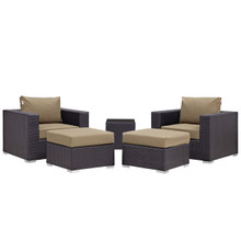 Convene Five PCS Outdoor Patio Sectional Set, Brown, Fabric, Synthetic Rattan
