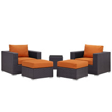 Convene Five PCS Outdoor Patio Sectional Set, Orange, Fabric, Synthetic Rattan