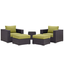 Convene Five PCS Outdoor Patio Sectional Set, Green, Fabric, Synthetic Rattan
