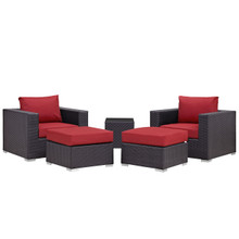 Convene Five PCS Outdoor Patio Sectional Set, Red, Fabric, Synthetic Rattan