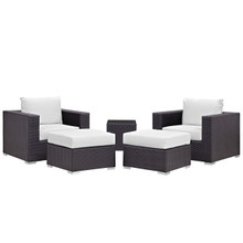 Convene Five PCS Outdoor Patio Sectional Set, White, Fabric, Synthetic Rattan
