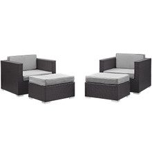 Convene Four PCS Outdoor Patio Sectional Set, Grey, Fabric, Synthetic Rattan