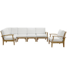 Marina Six PCS Outdoor Patio Teak Sofa Set, White, Fabric, Wood