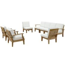 Marina Eight PCS Outdoor Patio Teak Sofa Set, White, Fabric, Wood
