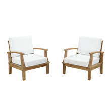 Marina Two PCS Outdoor Patio Teak Sofa Set, White, Fabric, Wood